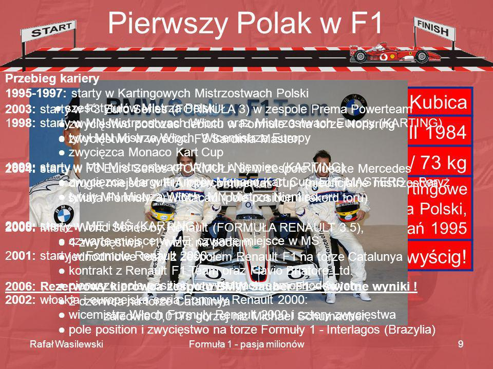Rafał WasilewskiFormuła 1 - pasja milionów9 Pierwszy Polak w F1 Imię i nazwisko Robert Kubica Urodzony Kraków 7 XII 1984 Wzrost / waga 1,84 m / 73 kg