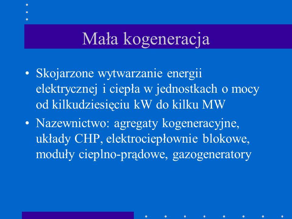 Mała kogeneracja Skojarzone wytwarzanie energii elektrycznej i ciepła w jednostkach o mocy od kilkudziesięciu kW do kilku MW Nazewnictwo: agregaty kog
