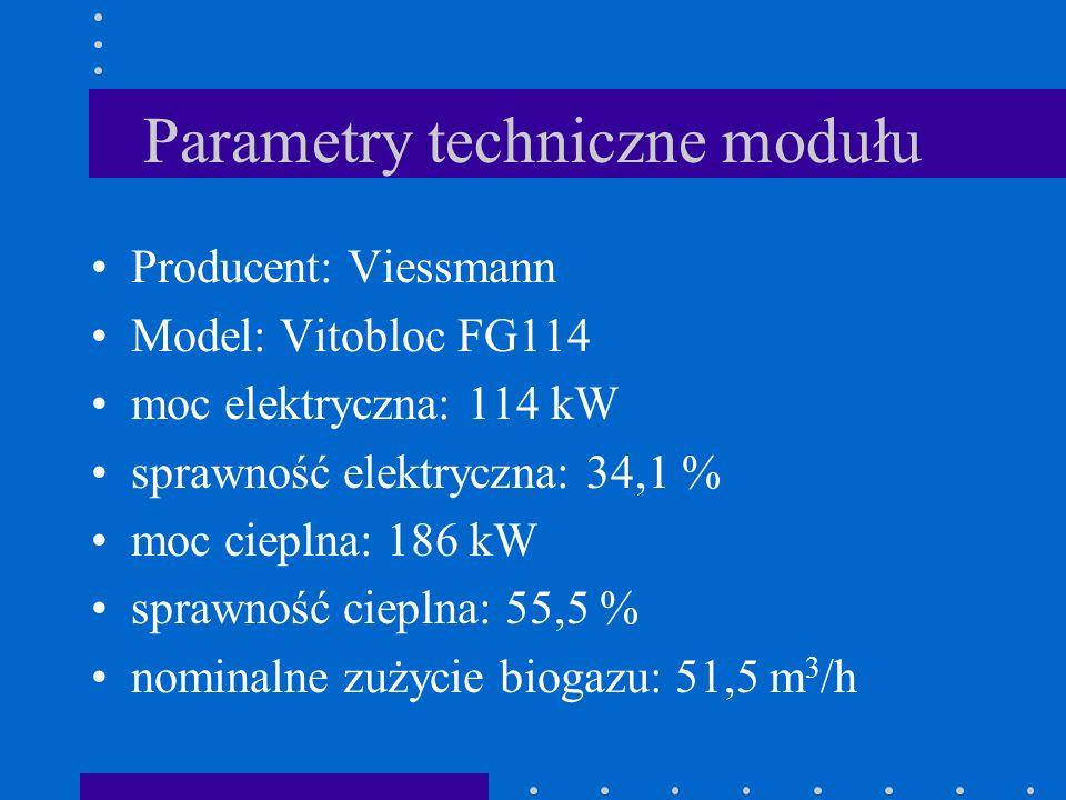 Parametry techniczne modułu Producent: Viessmann Model: Vitobloc FG114 moc elektryczna: 114 kW sprawność elektryczna: 34,1 % moc cieplna: 186 kW spraw