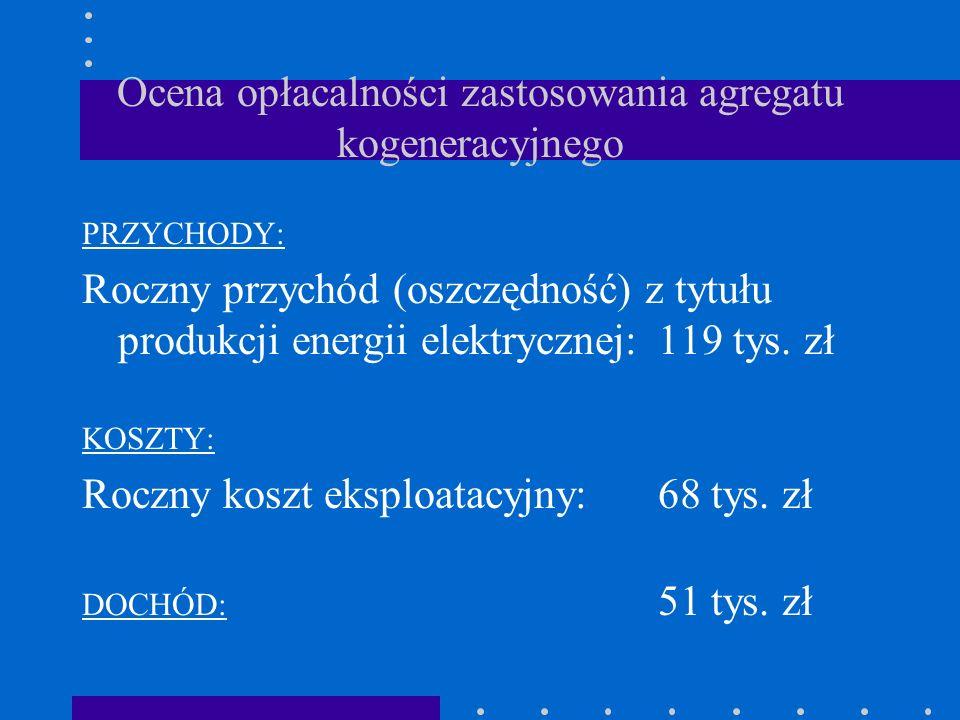 Ocena opłacalności zastosowania agregatu kogeneracyjnego PRZYCHODY: Roczny przychód (oszczędność) z tytułu produkcji energii elektrycznej:119 tys. zł