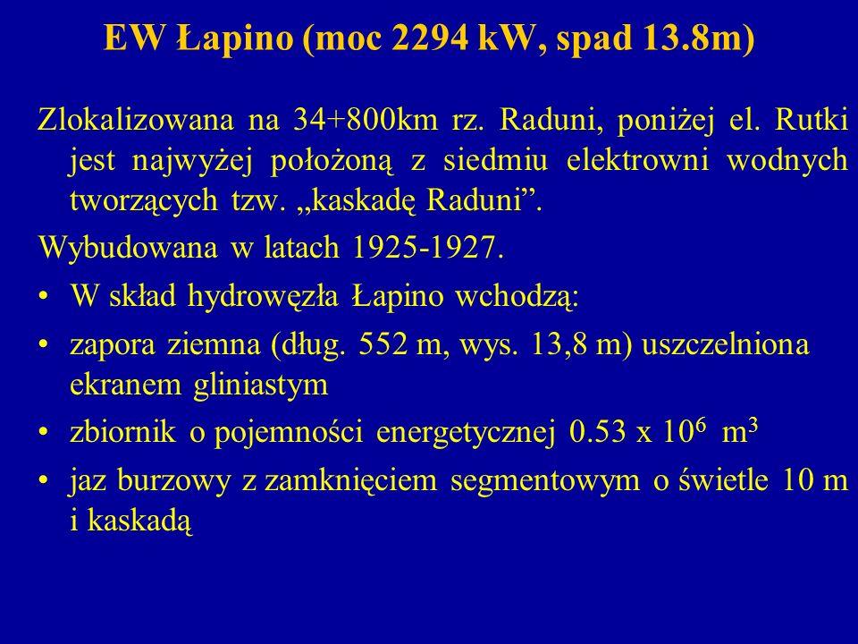 EW Łapino spust denny w postaci sztolni żelbetowej o przekroju eliptycznym dług.