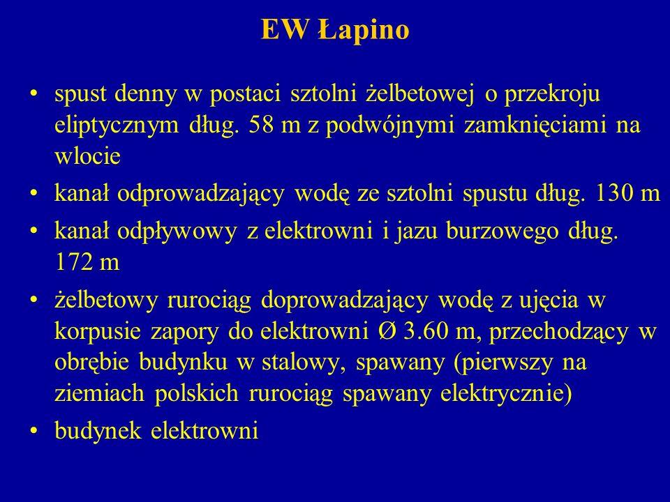 EW Łapino Na szczególną uwagę zasługuje rozwiązanie techniczne podnoszenia zamknięcia jazu burzowego.