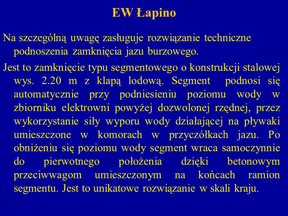 EW Łapino Elektrownia Łapino wyposażona jest w 2 turbozespoły o charakterystyce: Turbina: typu Francis bliźniaczy w układzie poziomym w spirali stalowej.