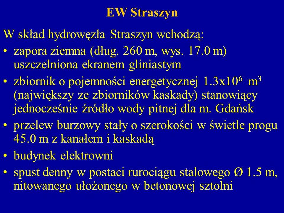 EW Straszyn rurociągi żelbetowe przechodzące przez korpus zapory i doprowadzające wodę o średnicy 1.8 m (do turbin z 1910 r) oraz 2.3 m (do turbiny z 1937 r) kanały odpływowe odprowadzające wodę z turbin, spustu dennego oraz kaskady kanału burzowego.