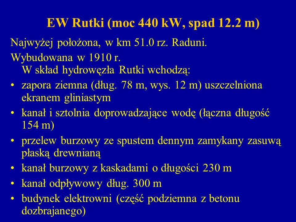 EW Rutki Elektrownia wyposażona jest w 2 turbozespoły o charakterystyce: Turbina typu Francis bliźniaczy w komorze otwartej, z wałem poziomym.