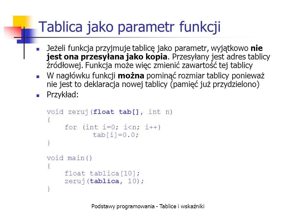 Podstawy programowania - Tablice i wskaźniki Tablica jako parametr funkcji Jeżeli funkcja przyjmuje tablicę jako parametr, wyjątkowo nie jest ona przesyłana jako kopia.