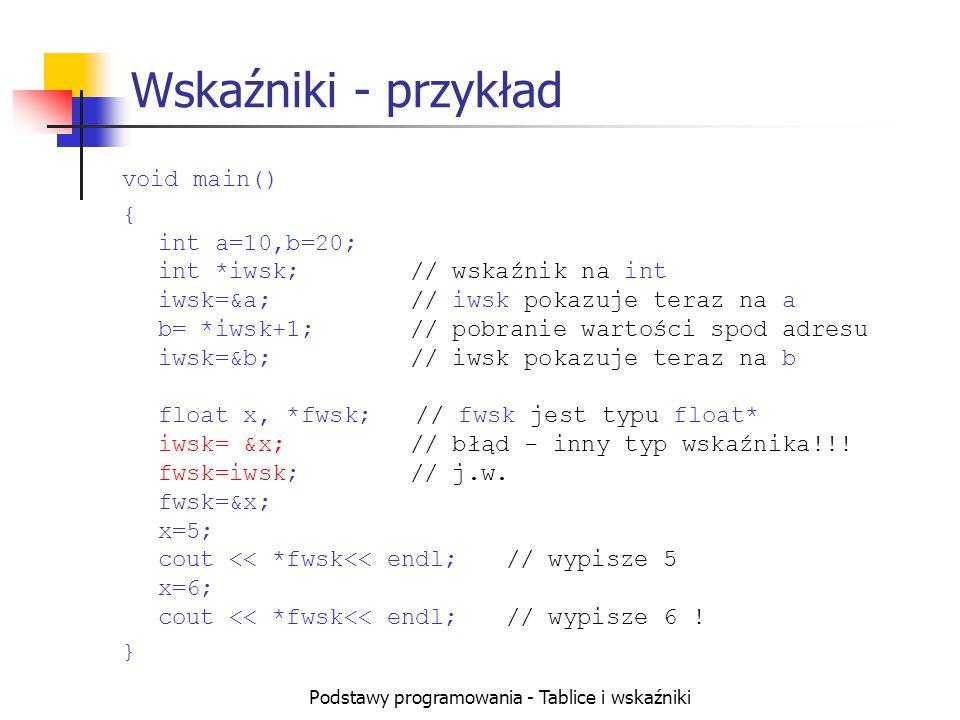 Podstawy programowania - Tablice i wskaźniki Wskaźniki - przykład void main() { int a=10,b=20; int *iwsk;// wskaźnik na int iwsk=&a;// iwsk pokazuje teraz na a b= *iwsk+1;// pobranie wartości spod adresu iwsk=&b;// iwsk pokazuje teraz na b float x, *fwsk; // fwsk jest typu float* iwsk= &x;// błąd - inny typ wskaźnika!!.