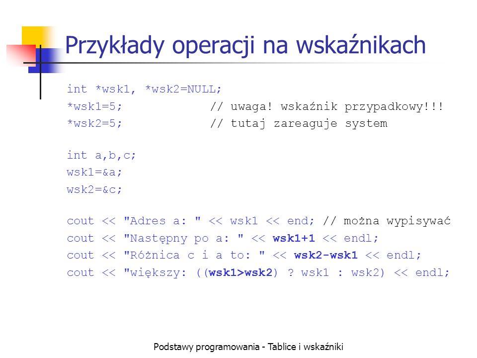 Podstawy programowania - Tablice i wskaźniki Przykłady operacji na wskaźnikach int *wsk1, *wsk2=NULL; *wsk1=5;// uwaga! wskaźnik przypadkowy!!! *wsk2=