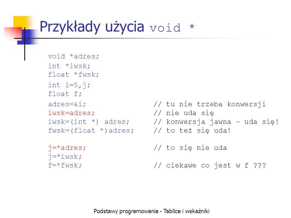 Podstawy programowania - Tablice i wskaźniki Przykłady użycia void * void *adres; int *iwsk; float *fwsk; int i=5,j; float f; adres=&i;// tu nie trzeba konwersji iwsk=adres;// nie uda się iwsk=(int *) adres;// konwersja jawna - uda się.