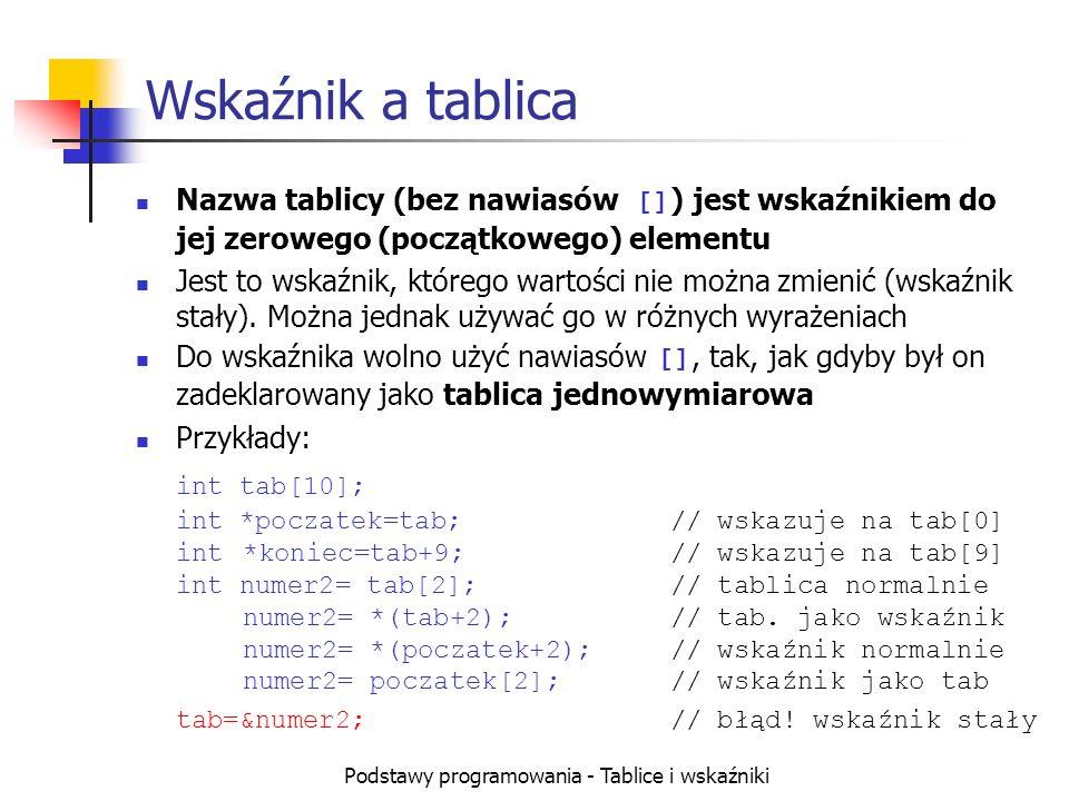 Podstawy programowania - Tablice i wskaźniki Wskaźnik a tablica Nazwa tablicy (bez nawiasów [] ) jest wskaźnikiem do jej zerowego (początkowego) elementu Jest to wskaźnik, którego wartości nie można zmienić (wskaźnik stały).