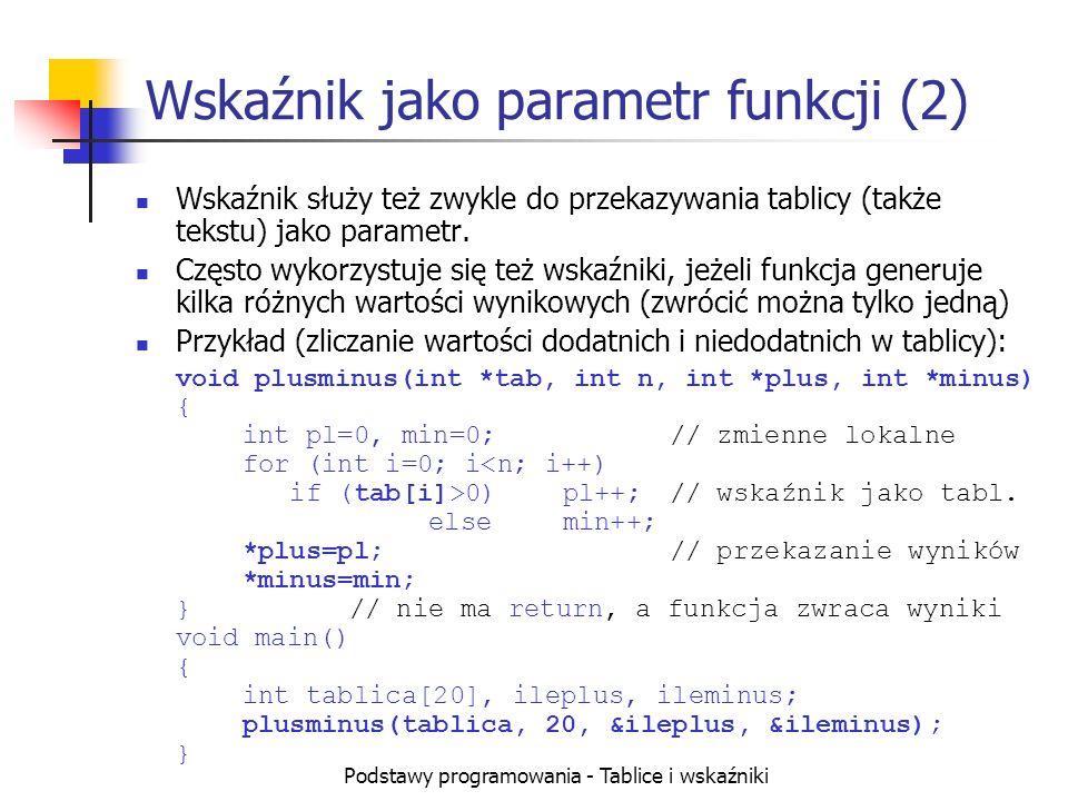 Podstawy programowania - Tablice i wskaźniki Wskaźnik jako parametr funkcji (2) Wskaźnik służy też zwykle do przekazywania tablicy (także tekstu) jako parametr.