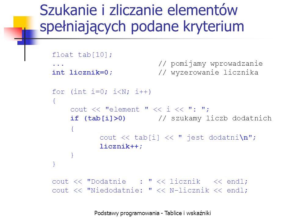 Podstawy programowania - Tablice i wskaźniki Szukanie i zliczanie elementów spełniających podane kryterium float tab[10];...// pomijamy wprowadzanie int licznik=0;// wyzerowanie licznika for (int i=0; i 0)// szukamy liczb dodatnich { cout << tab[i] << jest dodatni\n ; licznik++; } } cout << Dodatnie : << licznik << endl; cout << Niedodatnie: << N-licznik << endl;