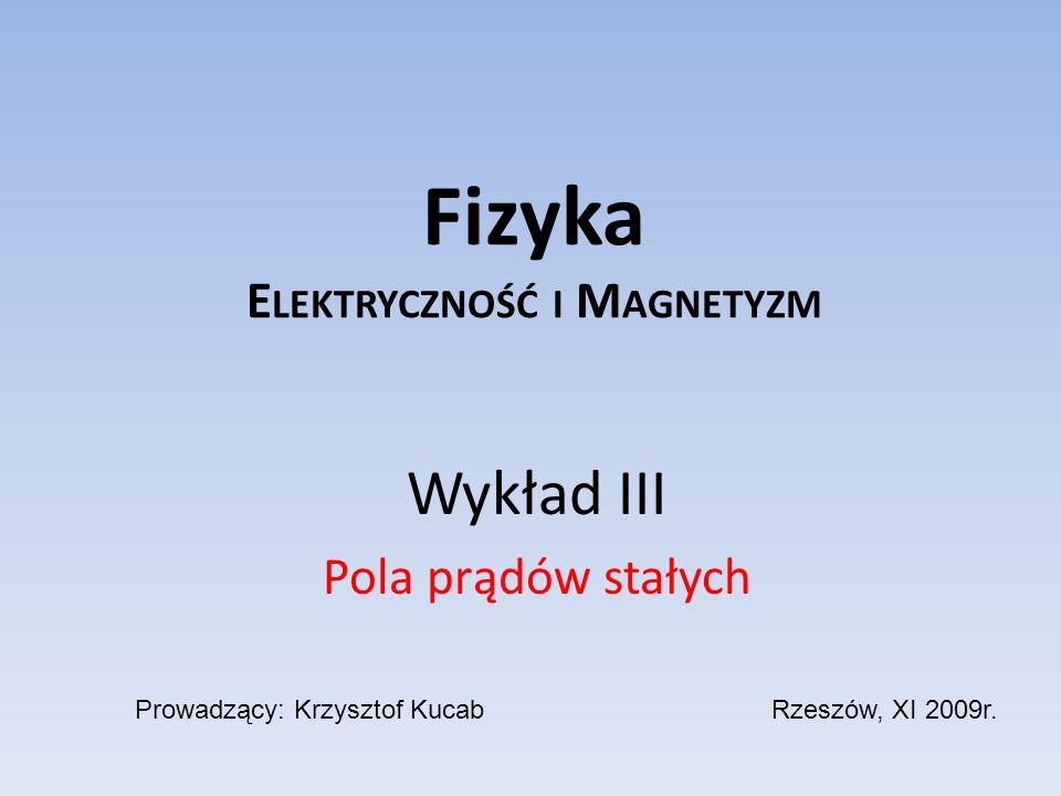 Plan wykładu Pola prądów stałych podstawowe prawa rządzące przepływem prądu elektrycznego; klasyczna teoria przewodnictwa elektrycznego metali; metale, półprzewodniki i izolatory; prądy w cieczach; siły w polu magnetycznym w próżni; pole magnetyczne wokół przewodników z prądem; potencjał wektorowy pola magnetycznego.