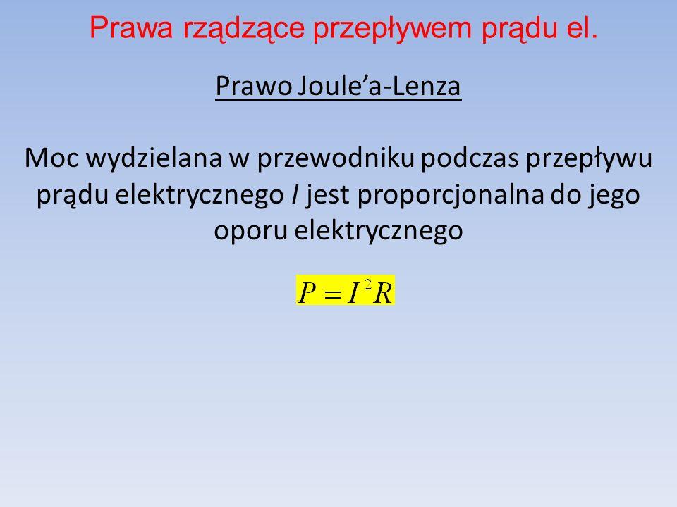 Prawo Joulea-Lenza Moc wydzielana w przewodniku podczas przepływu prądu elektrycznego I jest proporcjonalna do jego oporu elektrycznego Prawa rządzące