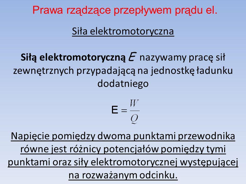 Siła elektromotoryczna Siłą elektromotoryczną E nazywamy pracę sił zewnętrznych przypadającą na jednostkę ładunku dodatniego Napięcie pomiędzy dwoma p