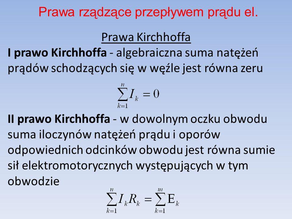 Prawa Kirchhoffa I prawo Kirchhoffa - algebraiczna suma natężeń prądów schodzących się w węźle jest równa zeru II prawo Kirchhoffa - w dowolnym oczku