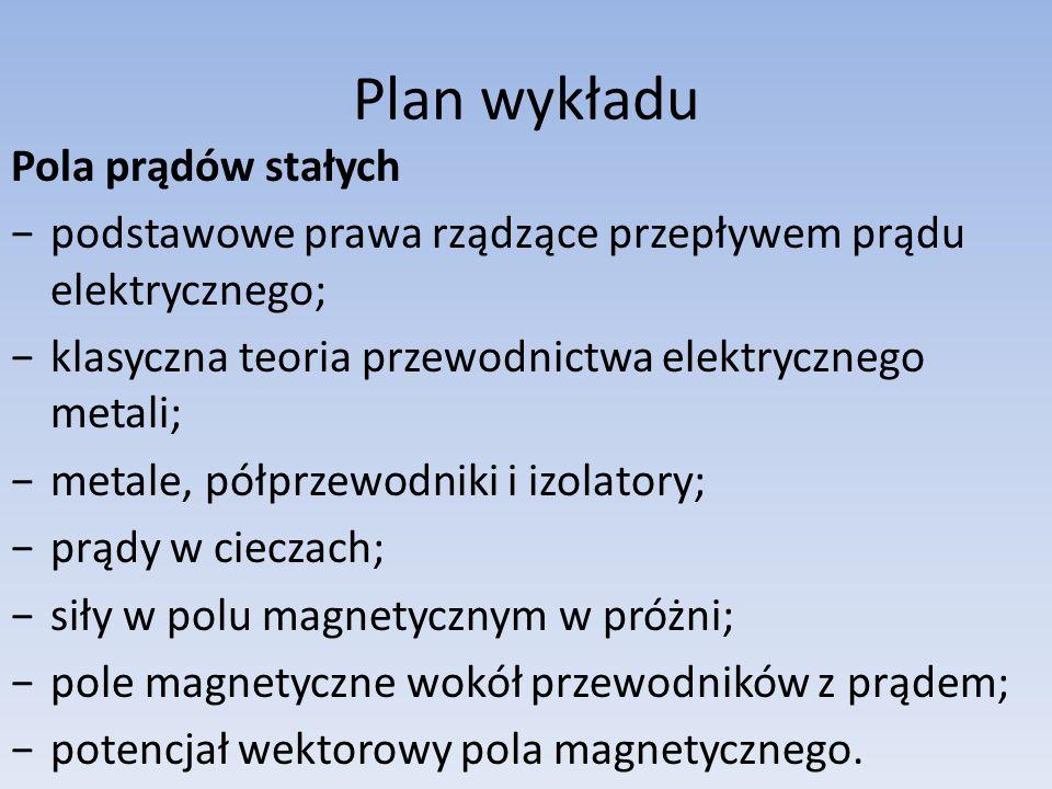 Plan wykładu Pola prądów stałych podstawowe prawa rządzące przepływem prądu elektrycznego; klasyczna teoria przewodnictwa elektrycznego metali; metale