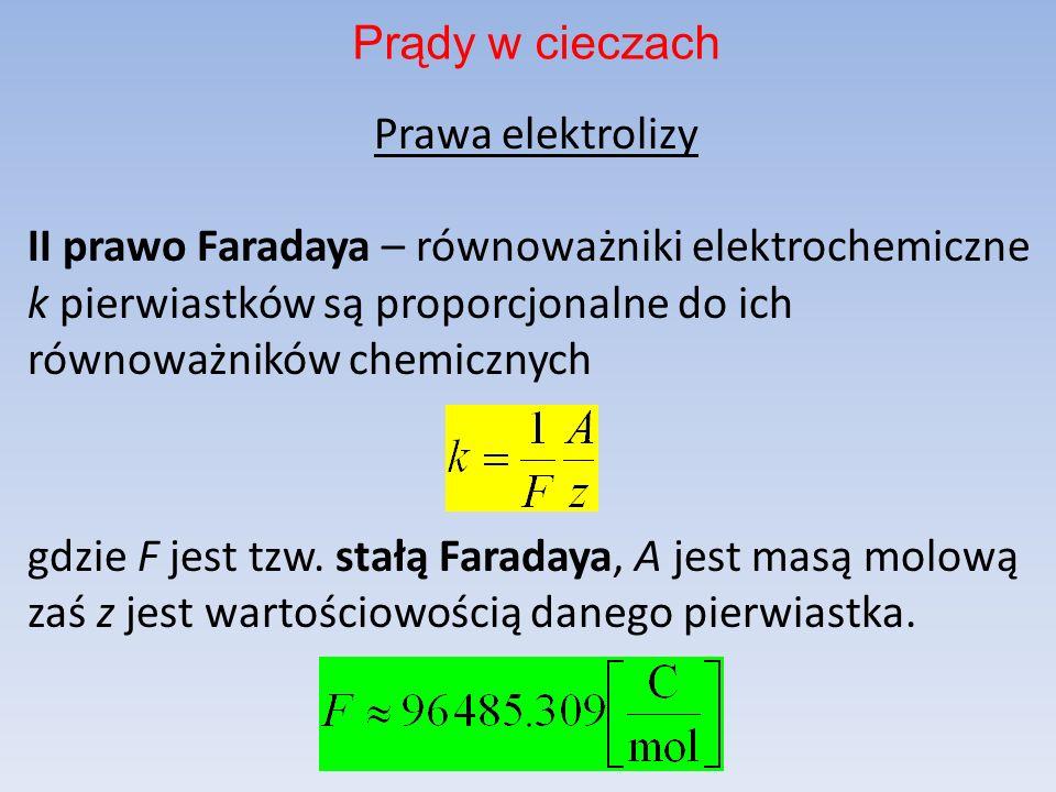 Prawa elektrolizy II prawo Faradaya – równoważniki elektrochemiczne k pierwiastków są proporcjonalne do ich równoważników chemicznych gdzie F jest tzw