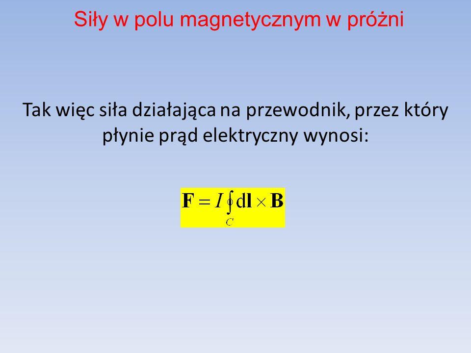 Tak więc siła działająca na przewodnik, przez który płynie prąd elektryczny wynosi: Siły w polu magnetycznym w próżni