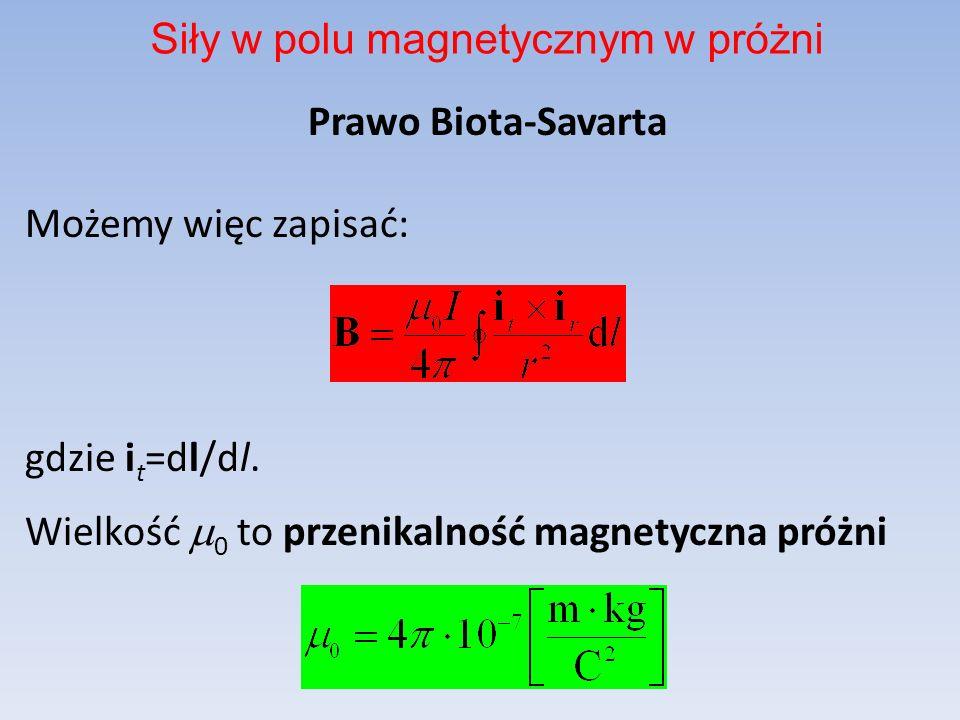 Prawo Biota-Savarta Możemy więc zapisać: gdzie i t =dl/dl. Wielkość 0 to przenikalność magnetyczna próżni Siły w polu magnetycznym w próżni