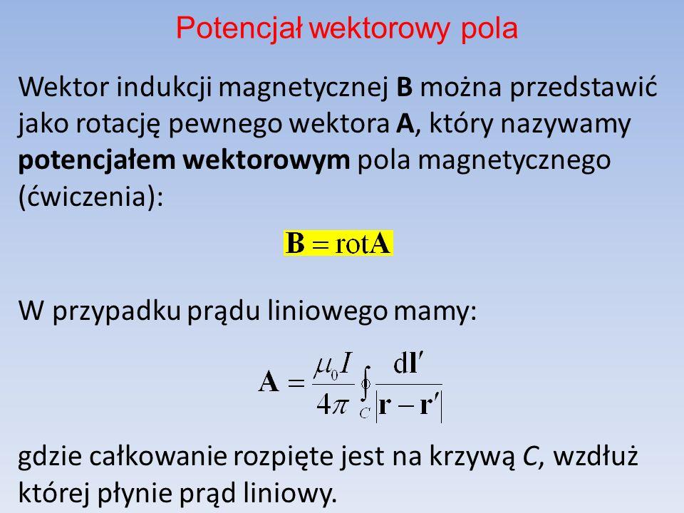 Wektor indukcji magnetycznej B można przedstawić jako rotację pewnego wektora A, który nazywamy potencjałem wektorowym pola magnetycznego (ćwiczenia):