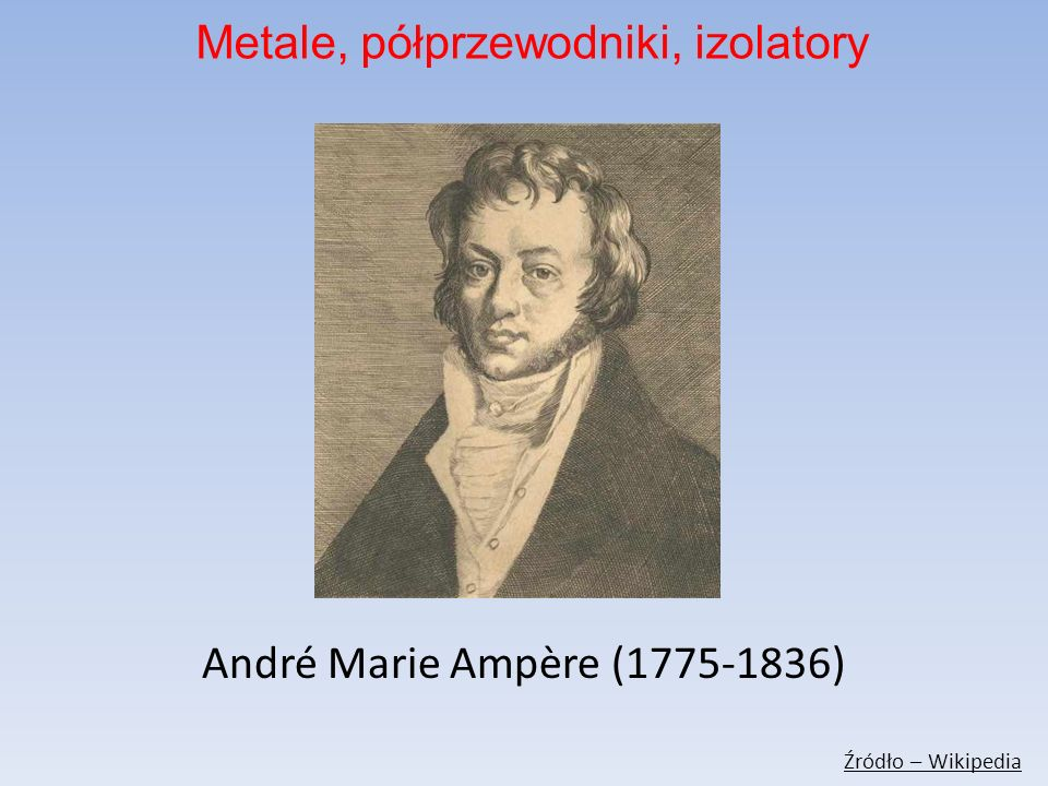 André Marie Ampère (1775-1836) Źródło – Wikipedia Metale, półprzewodniki, izolatory