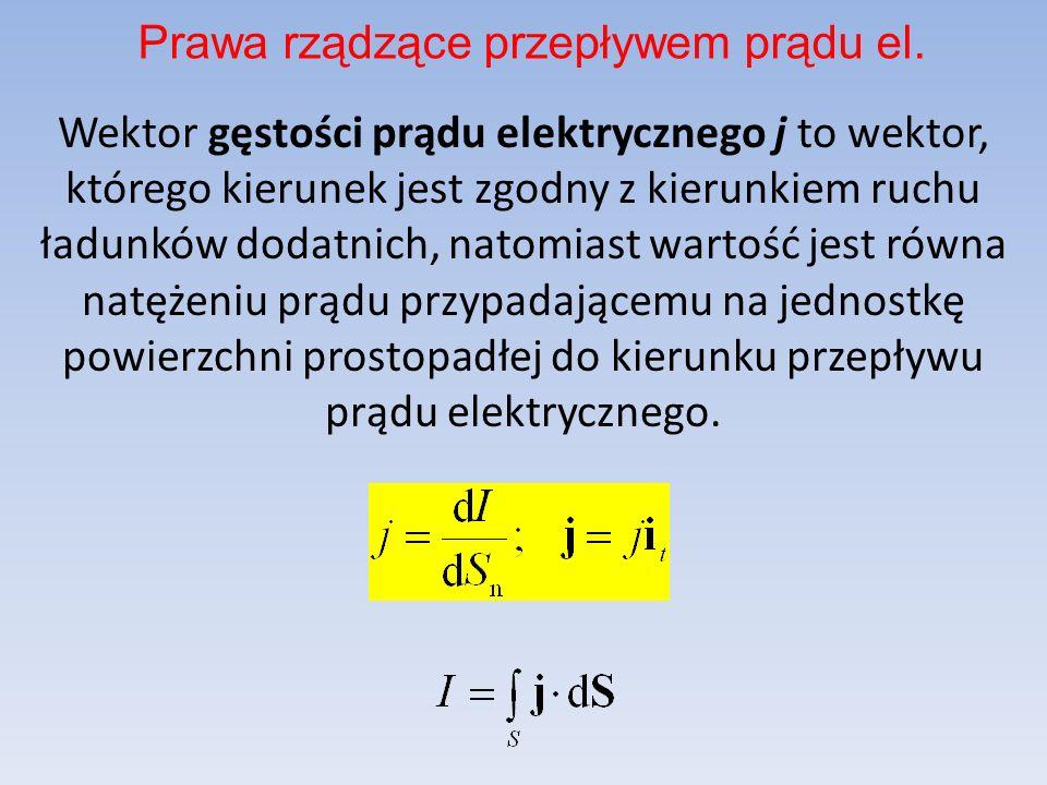 Wektor gęstości prądu elektrycznego j to wektor, którego kierunek jest zgodny z kierunkiem ruchu ładunków dodatnich, natomiast wartość jest równa natę