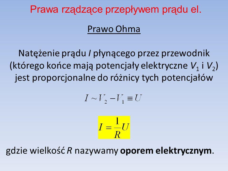 Prawo Ohma Natężenie prądu I płynącego przez przewodnik (którego końce mają potencjały elektryczne V 1 i V 2 ) jest proporcjonalne do różnicy tych pot