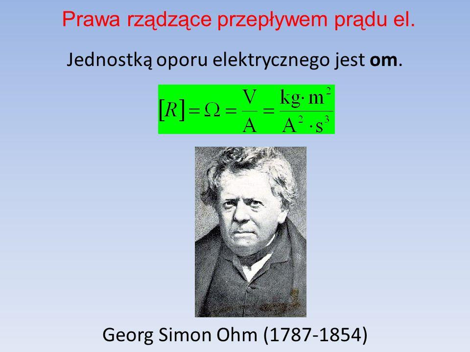 Jednostką oporu elektrycznego jest om. Georg Simon Ohm (1787-1854) Prawa rządzące przepływem prądu el.