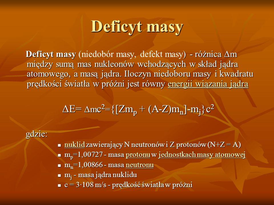 Deficyt masy Deficyt masy ) - różnica Δm między sumą mas nukleonów wchodzących w skład jądra atomowego, a masą jądra. Iloczyn niedoboru masy i kwadrat