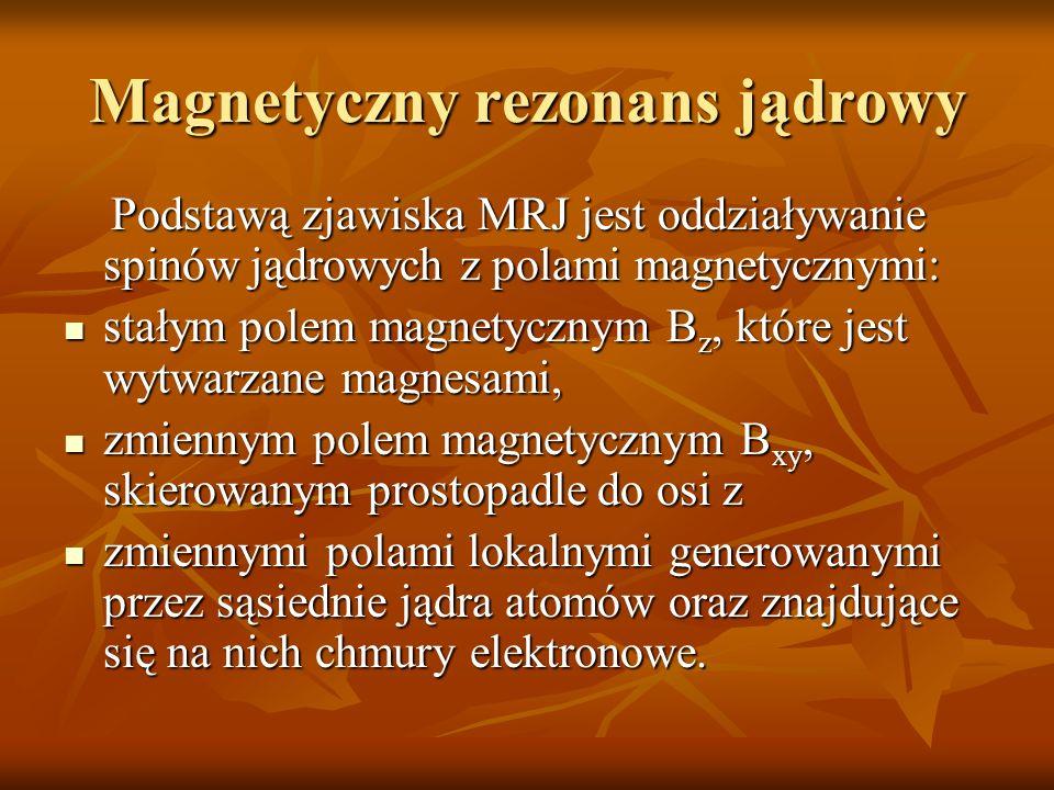 Magnetyczny rezonans jądrowy Podstawą zjawiska MRJ jest oddziaływanie spinów jądrowych z polami magnetycznymi: Podstawą zjawiska MRJ jest oddziaływani