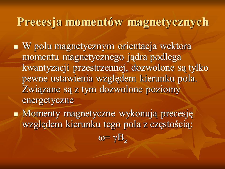 Precesja momentów magnetycznych W polu magnetycznym orientacja wektora momentu magnetycznego jądra podlega kwantyzacji przestrzennej, dozwolone są tyl