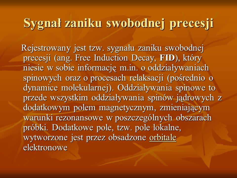 Sygnał zaniku swobodnej precesji Rejestrowany jest tzw. sygnału zaniku swobodnej precesji (ang. Free Induction Decay, FID), który niesie w sobie infor