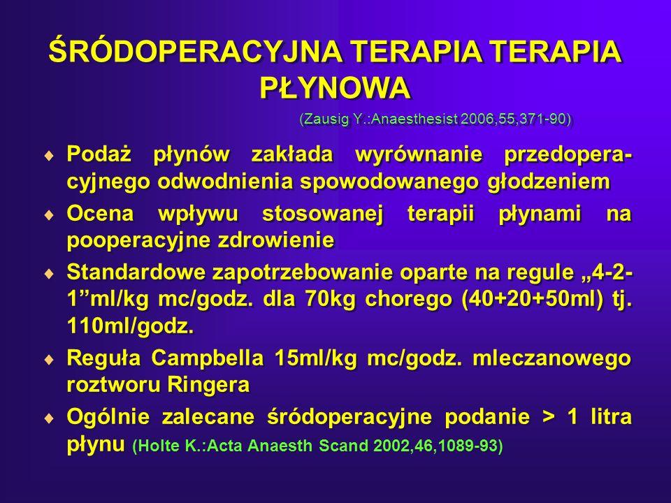 ŚRÓDOPERACYJNA TERAPIA TERAPIA PŁYNOWA (Zausig Y.:Anaesthesist 2006,55,371-90) Podaż płynów zakłada wyrównanie przedopera- cyjnego odwodnienia spowodowanego głodzeniem Ocena wpływu stosowanej terapii płynami na pooperacyjne zdrowienie Standardowe zapotrzebowanie oparte na regule 4-2- 1ml/kg mc/godz.