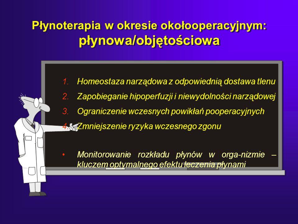 Płynoterapia w okresie okołooperacyjnym: płynowa/objętościowa 1.Homeostaza narządowa z odpowiednią dostawa tlenu 2.Zapobieganie hipoperfuzji i niewydolności narządowej 3.Ograniczenie wczesnych powikłań pooperacyjnych 4.Zmniejszenie ryzyka wczesnego zgonu Monitorowanie rozkładu płynów w orga-nizmie – kluczem optymalnego efektu leczenia płynami