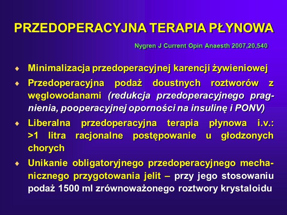 PRZEDOPERACYJNA TERAPIA PŁYNOWA Nygren J Current Opin Anaesth 2007,20,540 Minimalizacja przedoperacyjnej karencji żywieniowej Przedoperacyjna podaż doustnych roztworów z węglowodanami (redukcja przedoperacyjnego prag- nienia, pooperacyjnej oporności na insulinę i PONV) Liberalna przedoperacyjna terapia płynowa i.v.: >1 litra racjonalne postępowanie u głodzonych chorych Unikanie obligatoryjnego przedoperacyjnego mecha- nicznego przygotowania jelit – przy jego stosowaniu podaż 1500 ml zrównoważonego roztwory krystaloidu Minimalizacja przedoperacyjnej karencji żywieniowej Przedoperacyjna podaż doustnych roztworów z węglowodanami (redukcja przedoperacyjnego prag- nienia, pooperacyjnej oporności na insulinę i PONV) Liberalna przedoperacyjna terapia płynowa i.v.: >1 litra racjonalne postępowanie u głodzonych chorych Unikanie obligatoryjnego przedoperacyjnego mecha- nicznego przygotowania jelit – przy jego stosowaniu podaż 1500 ml zrównoważonego roztwory krystaloidu