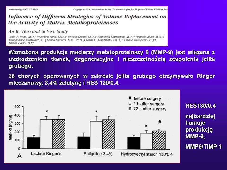 Wzmożona produkcja macierzy metaloproteinazy 9 (MMP-9) jest wiązana z uszkodzeniem tkanek, degeneracyjne i nieszczelnością zespolenia jelita grubego.