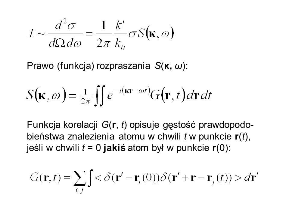 Prawo (funkcja) rozpraszania S(κ, ω): Funkcja korelacji G(r, t) opisuje gęstość prawdopodo- bieństwa znalezienia atomu w chwili t w punkcie r(t), jeśl