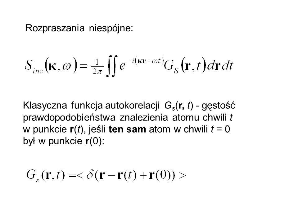 Klasyczna funkcja autokorelacji G s (r, t) - gęstość prawdopodobieństwa znalezienia atomu chwili t w punkcie r(t), jeśli ten sam atom w chwili t = 0 b