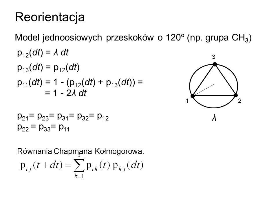 Reorientacja Model jednoosiowych przeskoków o 120º (np. grupa CH 3 ) p 12 (dt) = λ dt p 13 (dt) = p 12 (dt) p 11 (dt) = 1 - (p 12 (dt) + p 13 (dt)) =