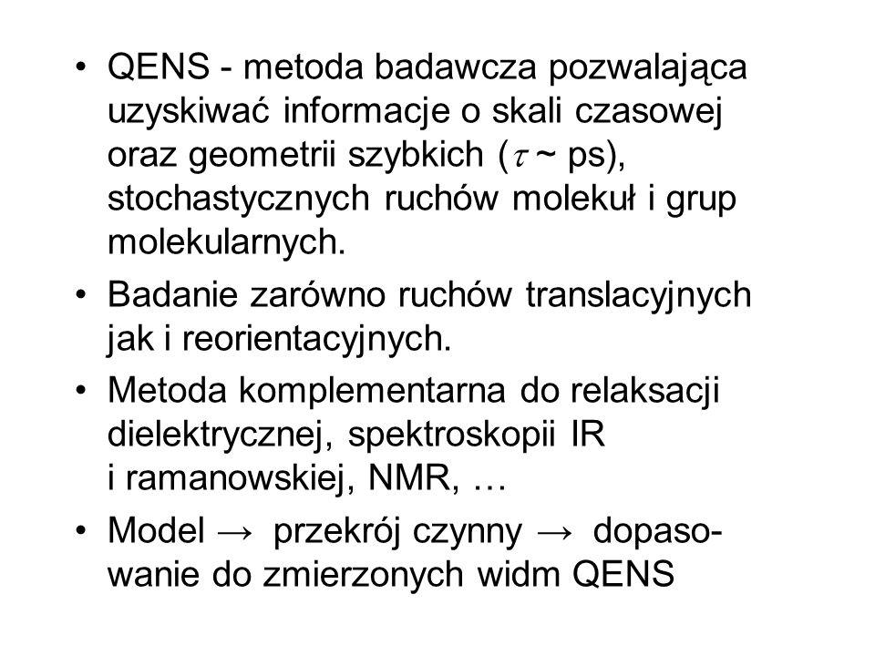 QENS - metoda badawcza pozwalająca uzyskiwać informacje o skali czasowej oraz geometrii szybkich ( ~ ps), stochastycznych ruchów molekuł i grup moleku
