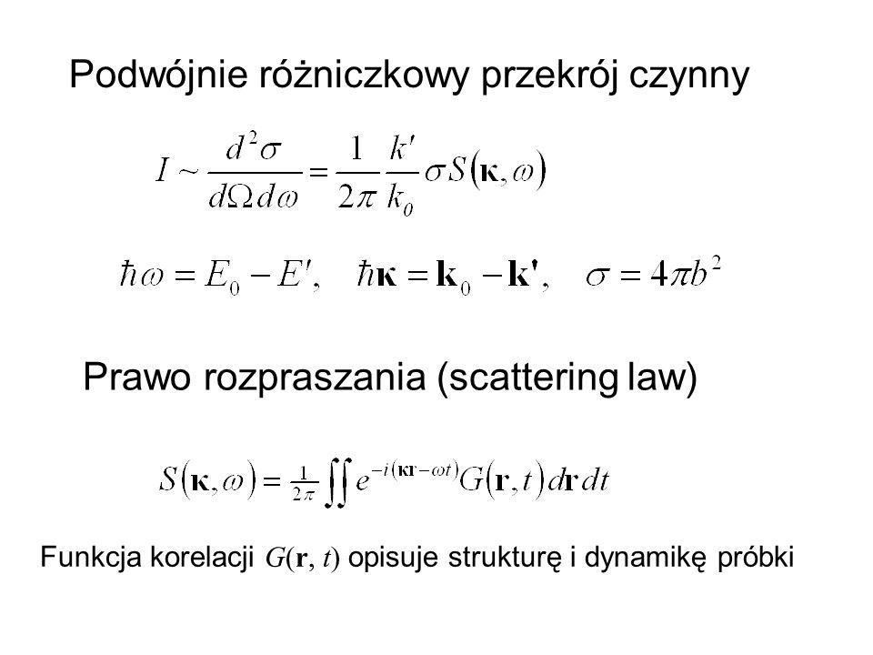Podwójnie różniczkowy przekrój czynny Prawo rozpraszania (scattering law) Funkcja korelacji G(r, t) opisuje strukturę i dynamikę próbki