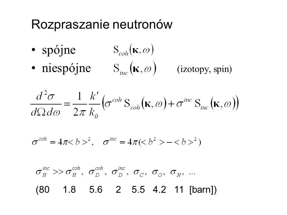 Rozpraszanie neutronów spójne niespójne (izotopy, spin) (80 1.8 5.6 2 5.5 4.2 11 [barn])