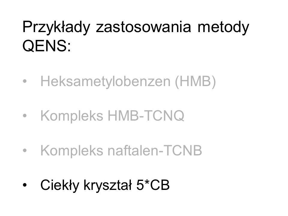 Przykłady zastosowania metody QENS: Heksametylobenzen (HMB) Kompleks HMB-TCNQ Kompleks naftalen-TCNB Ciekły kryształ 5*CB