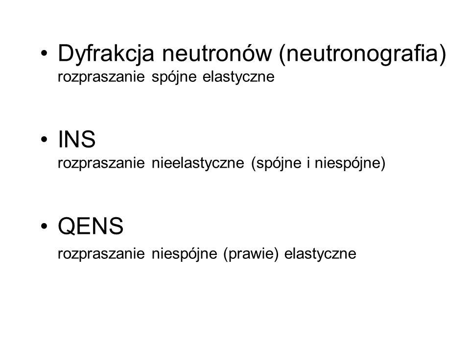 Dyfrakcja neutronów (neutronografia) rozpraszanie spójne elastyczne INS rozpraszanie nieelastyczne (spójne i niespójne) QENS rozpraszanie niespójne (p