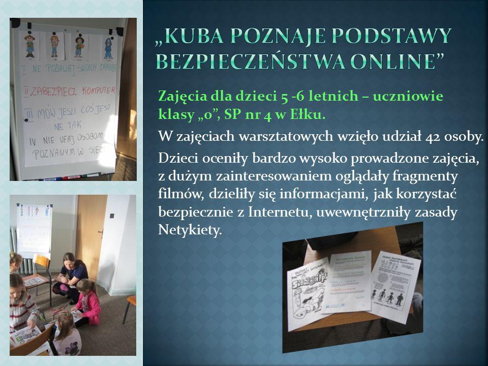 Zajęcia dla dzieci 5 -6 letnich – uczniowie klasy 0, SP nr 4 w Ełku. W zajęciach warsztatowych wzięło udział 42 osoby. Dzieci oceniły bardzo wysoko pr