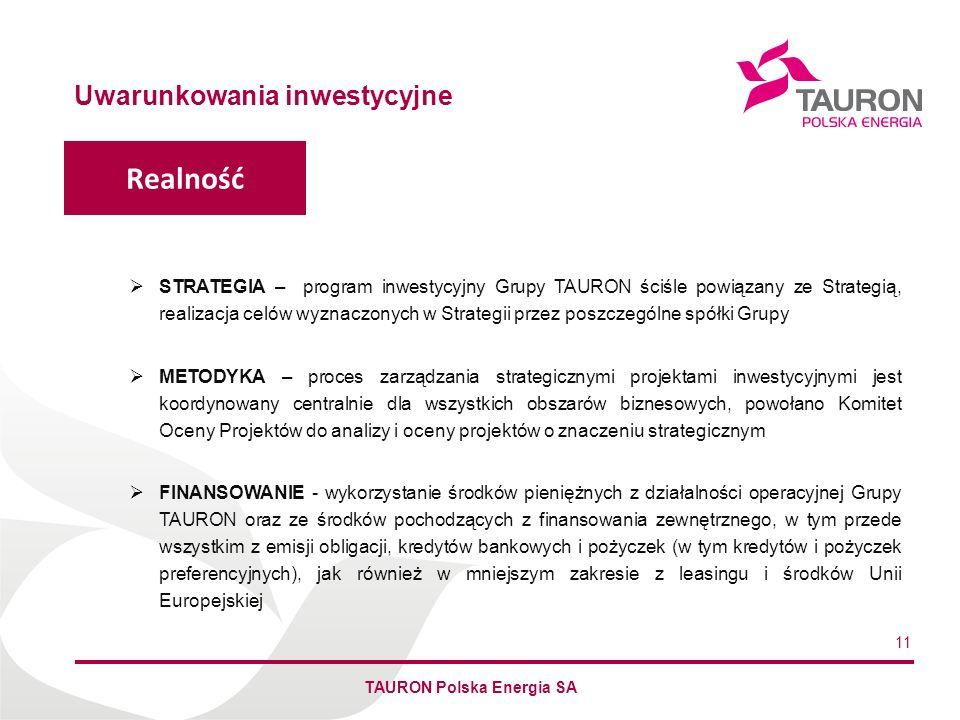 Imię Nazwisko Autora Uwarunkowania inwestycyjne STRATEGIA – program inwestycyjny Grupy TAURON ściśle powiązany ze Strategią, realizacja celów wyznaczo