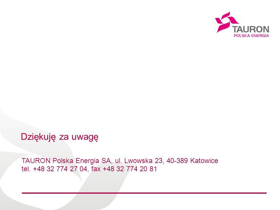 Imię Nazwisko Autora Dziękuję za uwagę TAURON Polska Energia SA, ul. Lwowska 23, 40-389 Katowice tel. +48 32 774 27 04, fax +48 32 774 20 81
