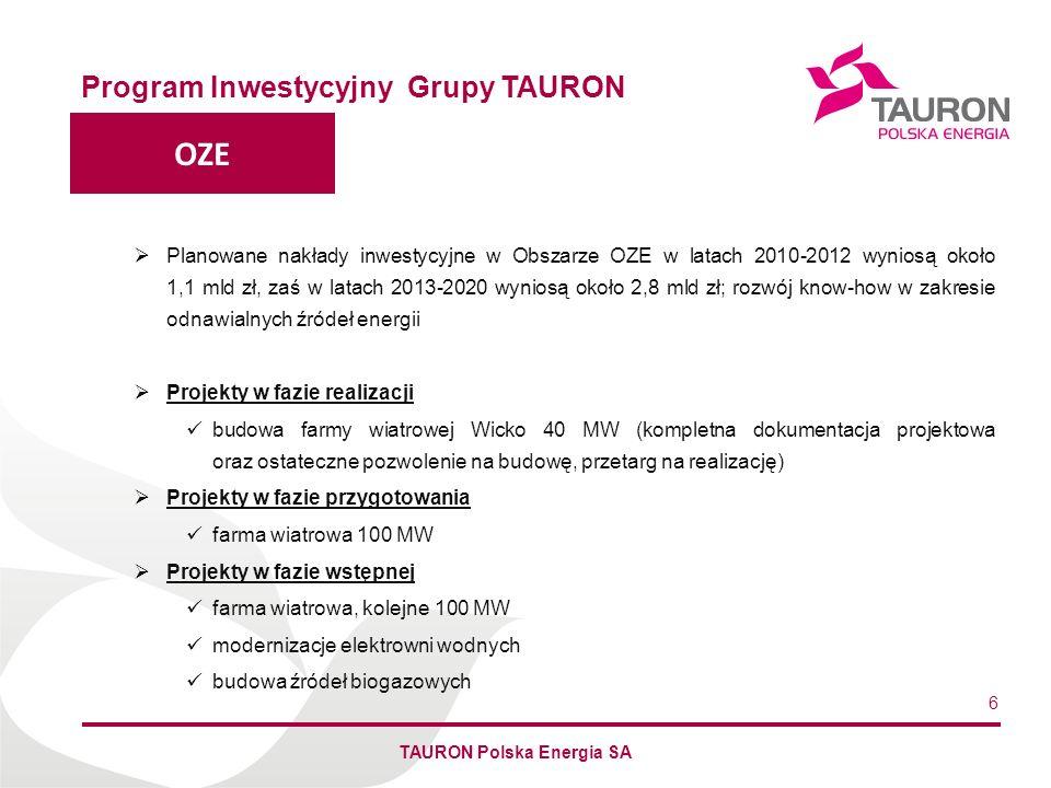 Imię Nazwisko Autora DYSTRYBUCJA Program inwestycyjny Grupy TAURON TAURON Polska Energia SA 7 Nakłady inwestycyjne w latach 2010-12 wyniosą 3,1 mld zł, a w latach 2010-20 - 12,8 mld zł, planowane wydatki związane z inwestycjami i modernizacjami sieci dystrybucyjnej oraz jej rozwojem wraz ze wzrostem popytu na energię, planowane jest również budowa i modernizacja połączeń międzysystemowych z Niemcami, Czechami oraz Słowacją Główne programy i projekty poprawa bezpieczeństwa dostaw energii elektrycznej do odbiorców końcowych poprzez realizację programów inwestycyjnych dotyczących poprawy bezpieczeństwa zasilania aglomeracji miejskich i obszarów wiejskich modernizacja i rozwój informatyzacji ewidencji majątku sieciowego oraz procesów zarządzania majątkiem sieciowym: program inwestycji związanych z przyłączeniami nowych odbiorców na SN i nN