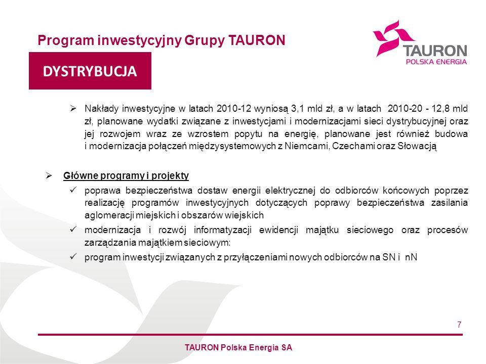 Imię Nazwisko Autora DYSTRYBUCJA Program inwestycyjny Grupy TAURON TAURON Polska Energia SA 7 Nakłady inwestycyjne w latach 2010-12 wyniosą 3,1 mld zł